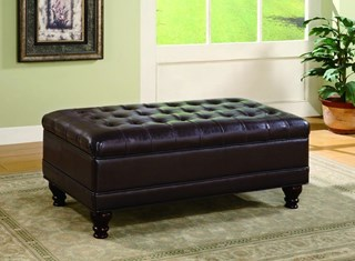 Dark Brown Leatherette Button Tufted Storage Ottoman