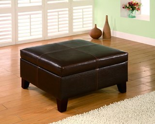 Dark Brown Wood Leatherette Storage Ottoman