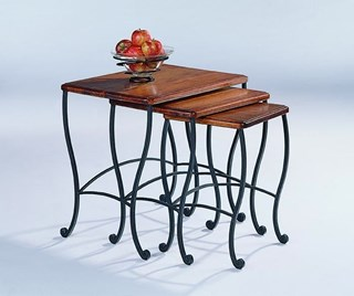Golden Brown Metal Wood Nesting Tables 3pc Set