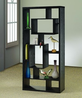 Transitional Black Wood Wall Recessed Bookcase