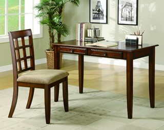 Traditional Chestnut Wood Writing Table & Chair