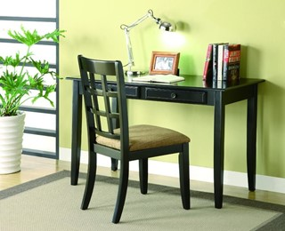 Traditional Black Wood Writing Table & Chair