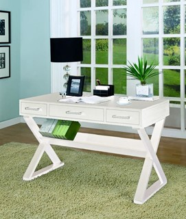 Contemporary White Wood Cross Legs Office Desk