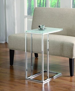 Chrome Metal Tempered Glass Snack Table