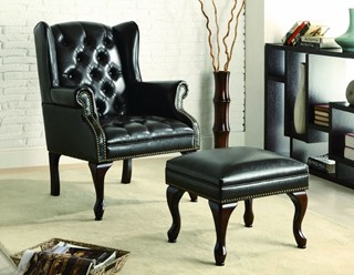 Black Leather-Like Vinyl Chair And Ottoman