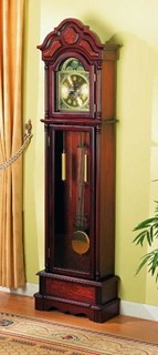 Traditional Cherry Wood Double Chime Grandfather Clock