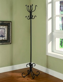 Traditional Black Metal Coat Rack W Curved Feet