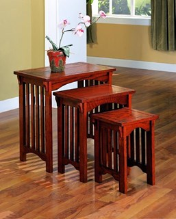 Transitional Warm Brown Wood Nesting Tables 3pc Set
