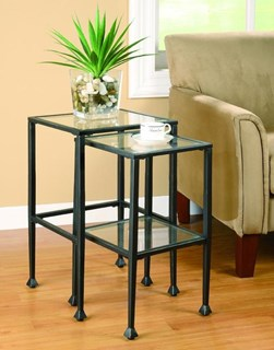 Transitional Black Glass Metal Nesting Tables 2pc Set