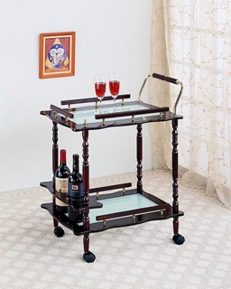 Traditional Merlot Wood Frosted Glass Top Serving Cart