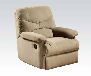 Arcadia Beige Fabric Wood Padded Arms & Cushion Back Recliner
