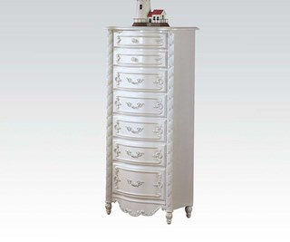 Pearl Elegent White Wood Lingerie Chest W/7 Drawers