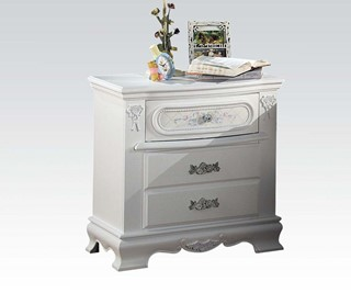 Flora Contemporary White Wood Nightstand W/Round Knobs