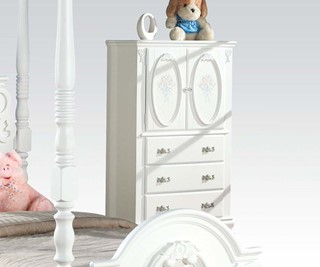 Flora White Wood TV Armoire