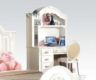 Flora Standard White Wood Computer Desk & Hutch