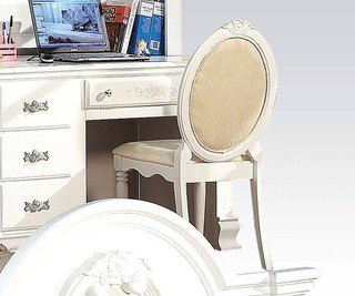 Flora Standard White Wood Chair W/Round Back