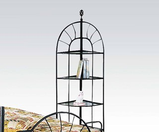 Sunburst Black Metal Corner Rack W/4 Shelves