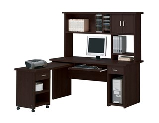 Linda Espresso Wood Rectangle Computer Desk Set W/Keyboard Tray