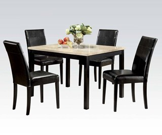 Portland White Black Wood 5Pc Pack Dining Set