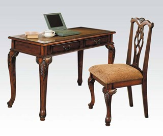 Aristocrate Dark Brown Cherry Wood 2pc Writing Desk & Side Chair