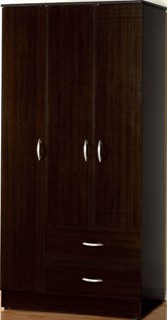 Olean Standard Espresso Wood 2 Drawers Wardrobe
