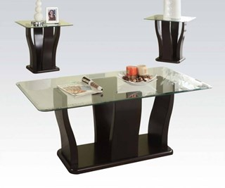 Shaker Espresso Wood 8mm Tempered Clear Glass Top 3pc Coffee Table Set