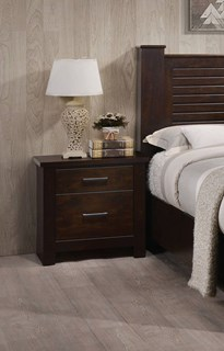 Panang Mahogany Solid Wood Glide Side Metal 2 Drawer Nightstand