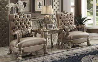 Acme Furniture Dresden Gold Patina Chair With Pillow