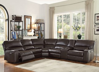 Saul Contemporary Espresso Leather Cup Holder Power Sectional Sofa : espresso sectional - Sectionals, Sofas & Couches