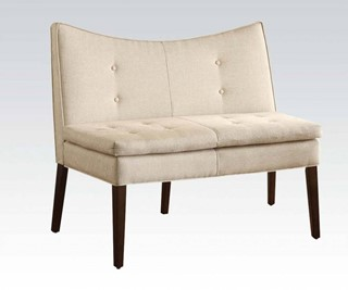 Galen Beige Wood Fabric Tufted Back Accent Love Chair