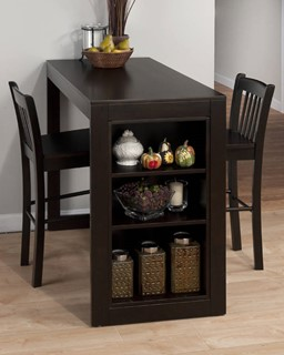 Maryland Contemporary Merlot Wood Counter Height Table w/3 Shelves