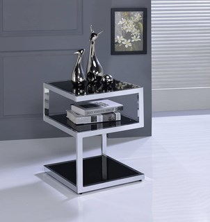 Acme Furniture Alyea Modern Black Glass Top Chrome End Table