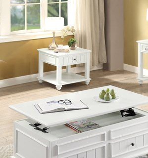 Acme Furniture Natesa White Washed Coffee Table with Lift Top The