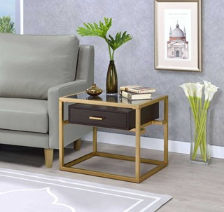 Acme Furniture Yumia Gold Clear End Table