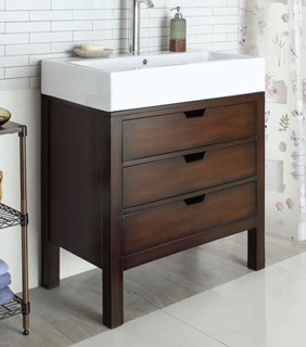 Tillie Cherry White Wood Drawer Sink Cabinet