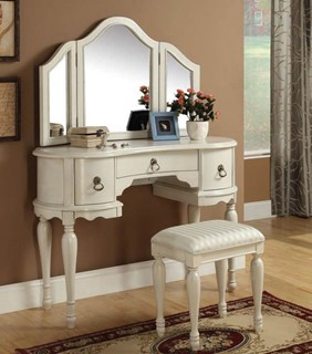 Trini White Wood Glass Vanity Sets W/Mirror