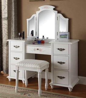 Torian White Wood Glass Vanity Sets W Mirror