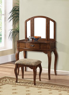 Acme Furniture Maren Oak Vanity And Stool Set With Mirror