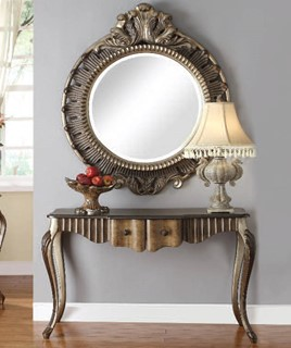 Bayley Bronze Taupe Wood Glass Console Table W/Mirror