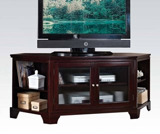 Namir Espresso Wood Corner Open Compartment TV Stand