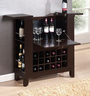 Nelson Wenge Wood Metal Wine Cabinet w/Drawer