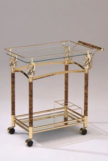 Helmut Gold Metal Glass Open Storage Serving Cart