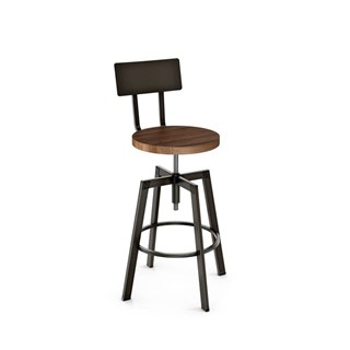 Architect Screw Stool (Distressed Solid Wood Seat And Metal Backrest)