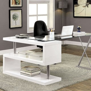 Zoreina White MDF Metal Curved Panel Glass Top Swivel Desk