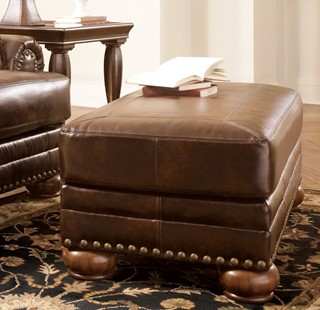 DuraBlend Traditional Antique Leather Rectangle Ottoman
