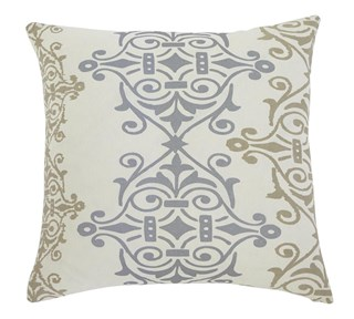 Scroll Transitional Gray Brown Fabric Pillow Cover