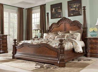 Ashley Furniture Ledelle 2pc Bedroom Set with King Poster Bed | The ...