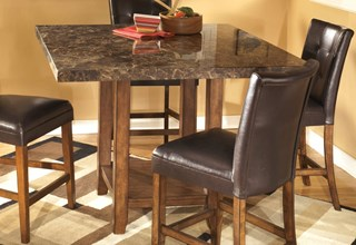 lacey contemporary medium brown wood marble square counter table - Kitchen Counter Tables