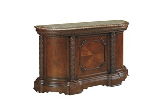 North Shore Traditional Dark Brown Wood Bar W/Marble Top