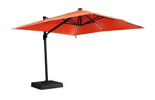 Oakengrove Contemporary Coral Aluminum Large Cantilever Umbrella